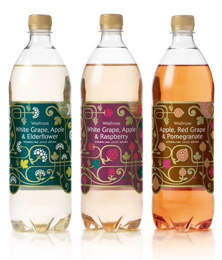 WONDERFULL Waitrose Sparkling Juice Packaging by Darren Whittington.  Love the little popping juice bubbles.