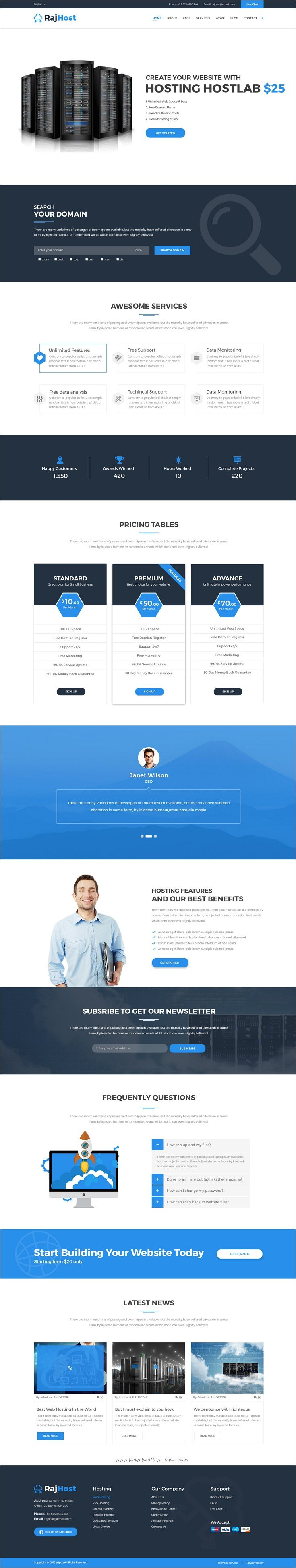 RajHost is a creative design premium #PSD Template for Web #Hosting companies websites with #WHMCS and 3 homepage layouts download now➩ https://themeforest.net/item/rajhost-web-hosting-with-whmcs-psd-template/19143238?ref=Datasata