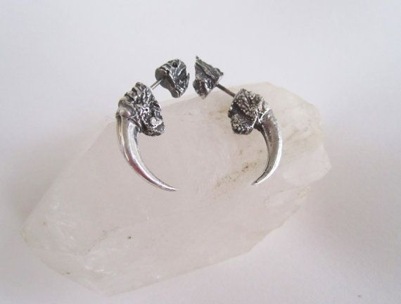 The Hunted  Sterling silver small owl talon gauge by Eilisain, $140.00
