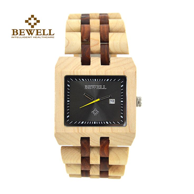 BEWELL Men Watches Luxury Brand Wood Watch Rectangle Case Auto Date Function Pointer Display Wristwatches Handmade 2017 W017A