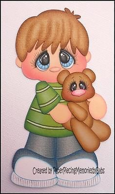 Premade Little Boy with Bear Paper Piecing for Scrapbook Pages by Babs | eBay