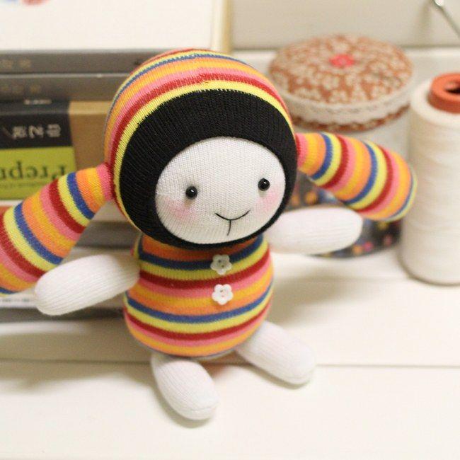 Colorful Strip Handmade Baby Doll Sock Toy Sock DIY Kit Toy Stuffed Baby