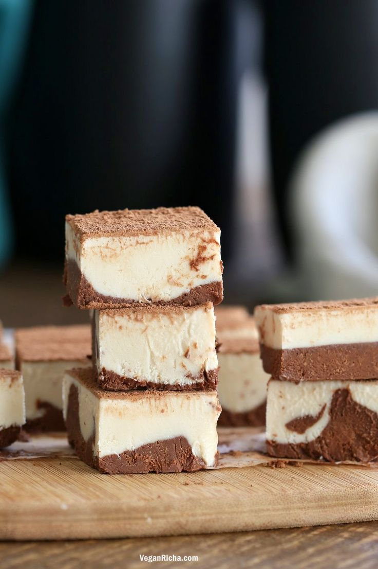Tiramisu Fudge Bars with creamy cashew vegan mascarpone layered with cocoa coffee cream. These freezer fudge bars are easy and dreamy. Vegan Gluten-free Soy-free Recipe | http://VeganRicha.com