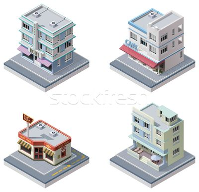 Stock photo - Vector isometric buildings set (vector illustration) © Tele 52 (tele52) (#1976229) | Stockfresh