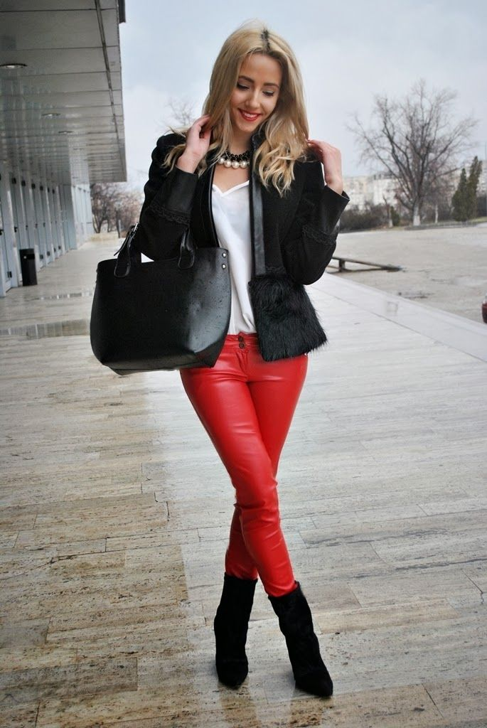 www.streetstylecity.blogspot.com Be inspired by the people in the street ! Red Leather Pants