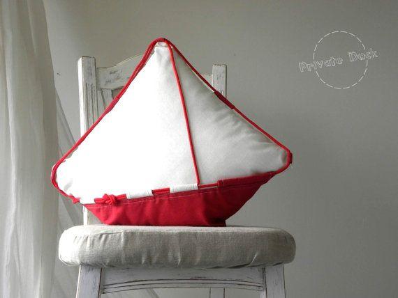 SALE 20% Nautical Pillow Big Yacht  Nautical Art by PrivateDock