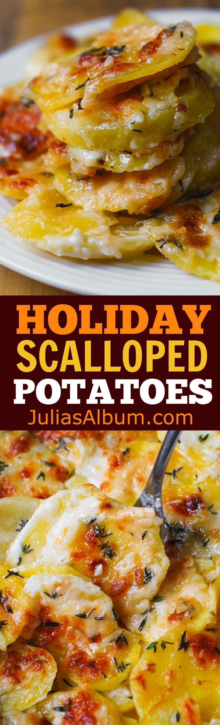 Easy, cheesy scalloped potatoes with garlic and thyme. #Holidays #Christmas #sides