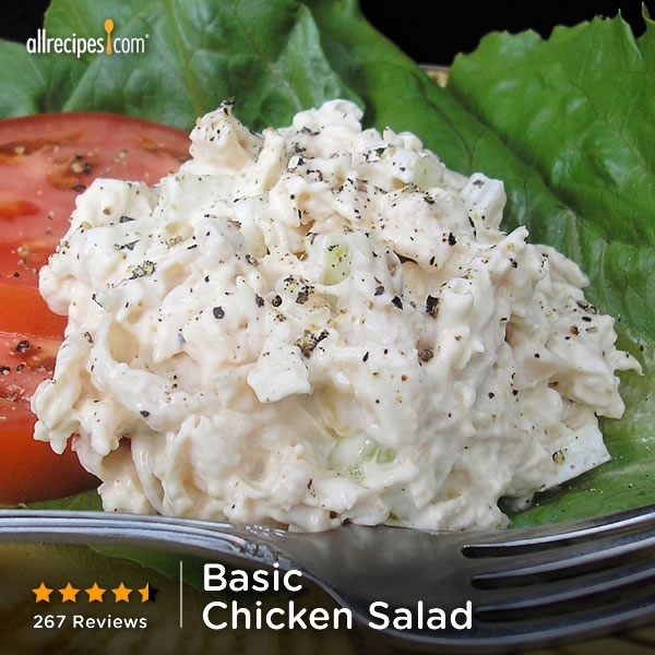 This 10-minute Basic Chicken Salad is great on crackers or baguette ...