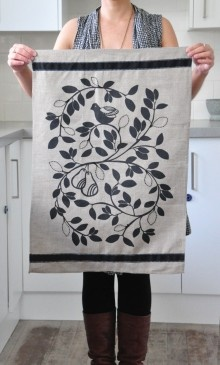 Linen Tea Towel Partridge & Pear