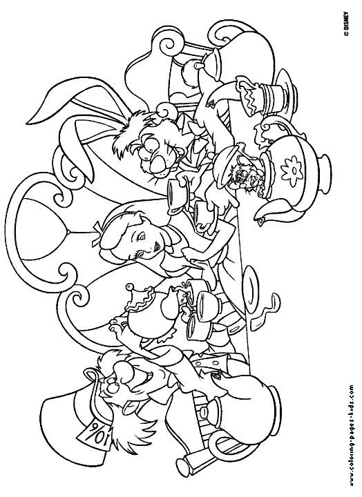 Mad tea party alice in wonderland disney coloring pages for Alice in wonderland tea party coloring pages
