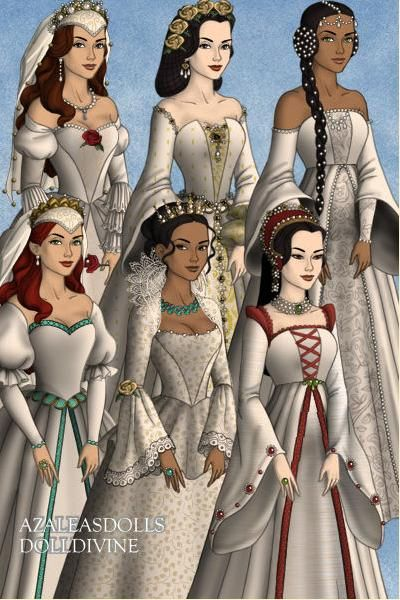 Belle Snow White Jasmine Ariel Pocahontas And Mulan In Their Wedding Dresses