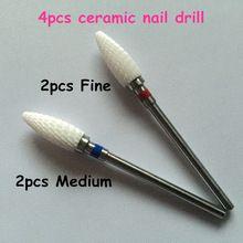 2016 Nieuwe 4 stks/partij nail elektrische boor manicure machine cutter apparaat Keramische bullet nail boor nail art salon gereedschap(China (Mainland))