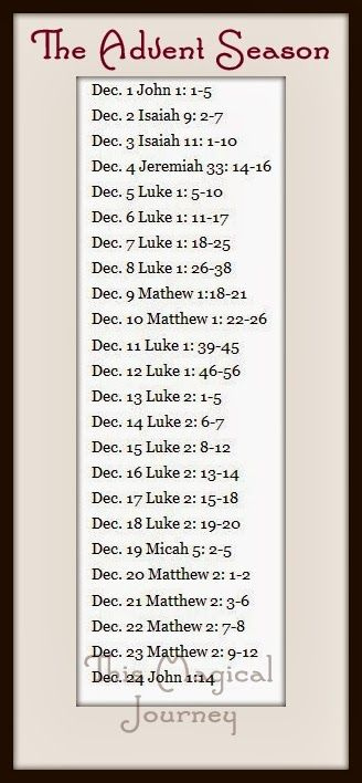 Advent Season and Family Devotions:  Some great verses to read up to the birth of our Savior