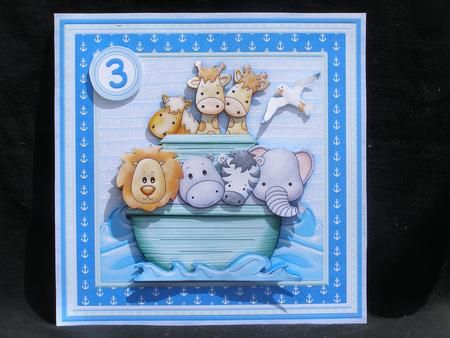 ANIMAL ARK Birthday Ages Baby Christening Boy Mini Kit on Craftsuprint designed by Janet Briggs - made by Susan Smith