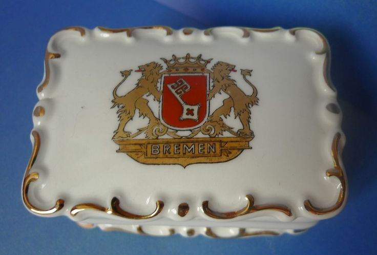 Vintage Germany Pottery Bavaria Bremen Trinket Box Casket porcelain collectibles