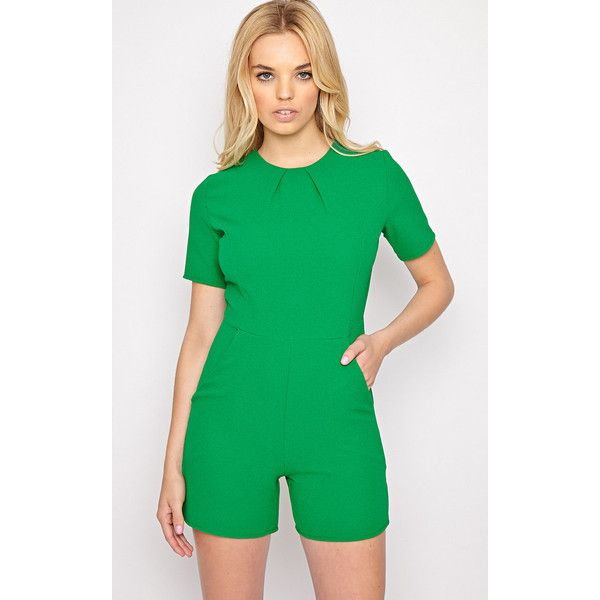 Isabelle Green Playsuit ($18) ❤ liked on Polyvore featuring jumpsuits, rompers, green, green rompers, playsuit romper, green romper, summer rompers and summer romper