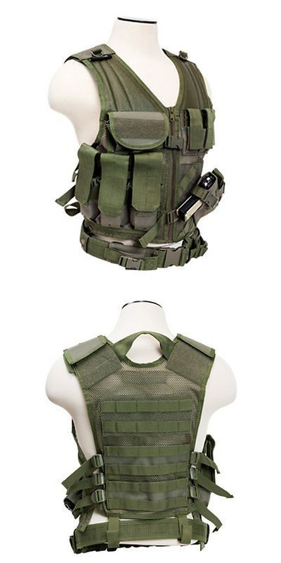 Chest Rigs and Tactical Vests 177891: Ncstar Pvc Military Tactical Airsoft Heavy Duty Vest W/ Pistol Holster Od Green -> BUY IT NOW ONLY: $35.94 on eBay!