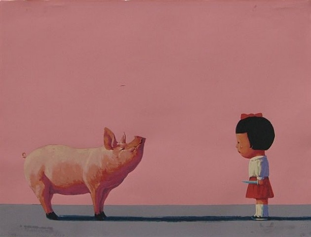 PIG with a girl by Liu Ye