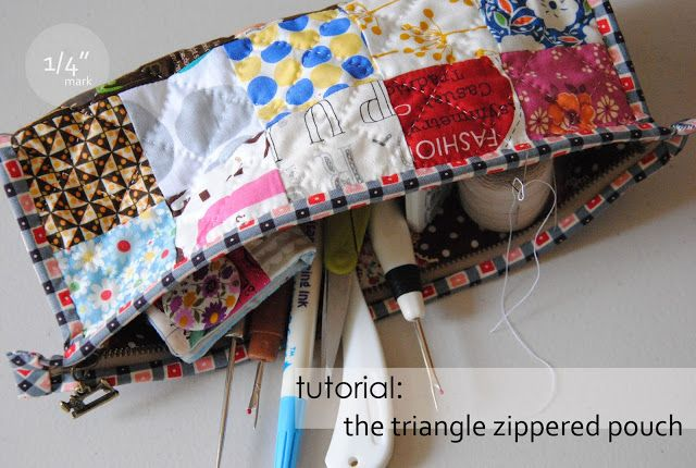 "1/4"" mark: Tutorial: the triangle pouch"