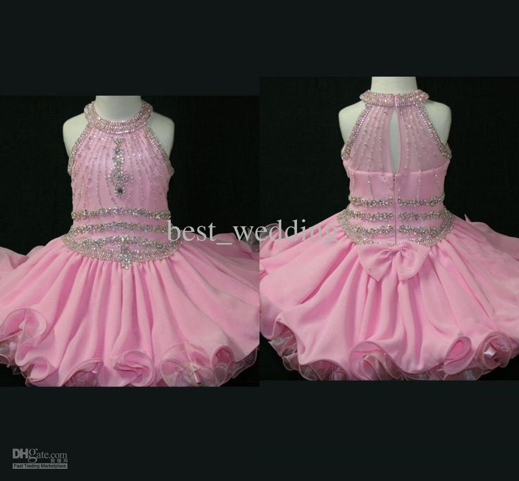 Wholesale Beautiful pink crystal beaded mini chic flower girl dresses toddlers pageant dress little girl dress, Free shipping, $67.2-85.12/Piece | DHgate