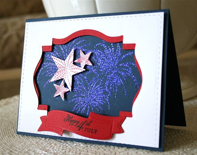 handmade card from Marybeth's time for paper ... Fourth of July ... red, white and blue ... great use of Spellbinder's dies to make a negative space frame ... super-great look of the embossed fireworks exploding ... Stampendous Stamp n Stuff Kaleidoscope ... WOW!