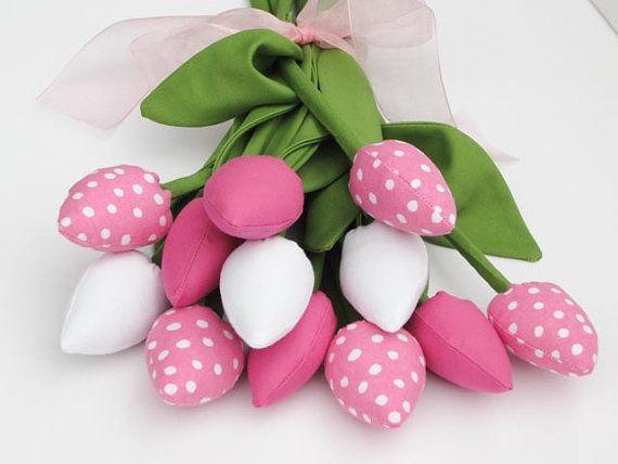 Dozen of tulip flowers fabric flower pink and white polka dot birthday gift bridal shower birthday gift for girl,mom