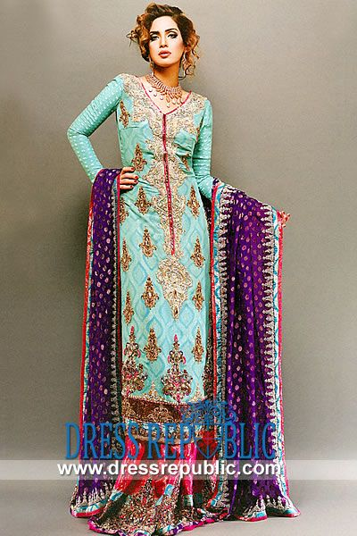 Green Water Denver - DR9797, CARA Designers Pakistan, CARA Wedding Bridal Lehenga Dress 2013 Collection by www.dressrepublic.com