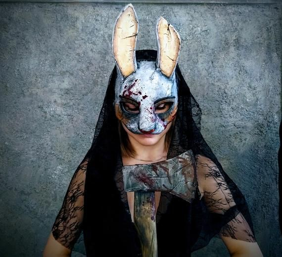 Dead By Daylight Huntress Bunny Mask With Veil Bunny Mask Creepy Masks Huntress Cosplay