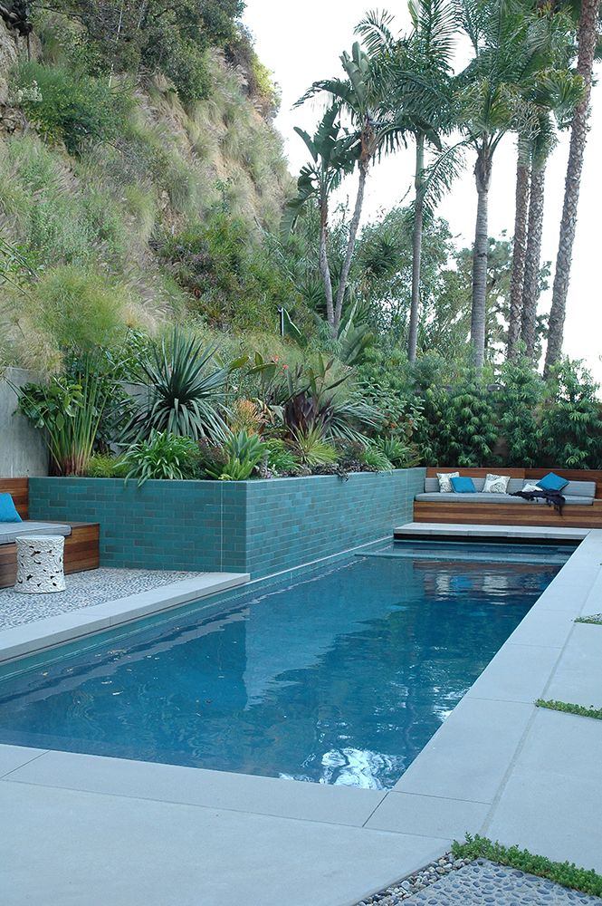 pool flanked by a raised tile planter and built-in seating by Elysian Landscapes