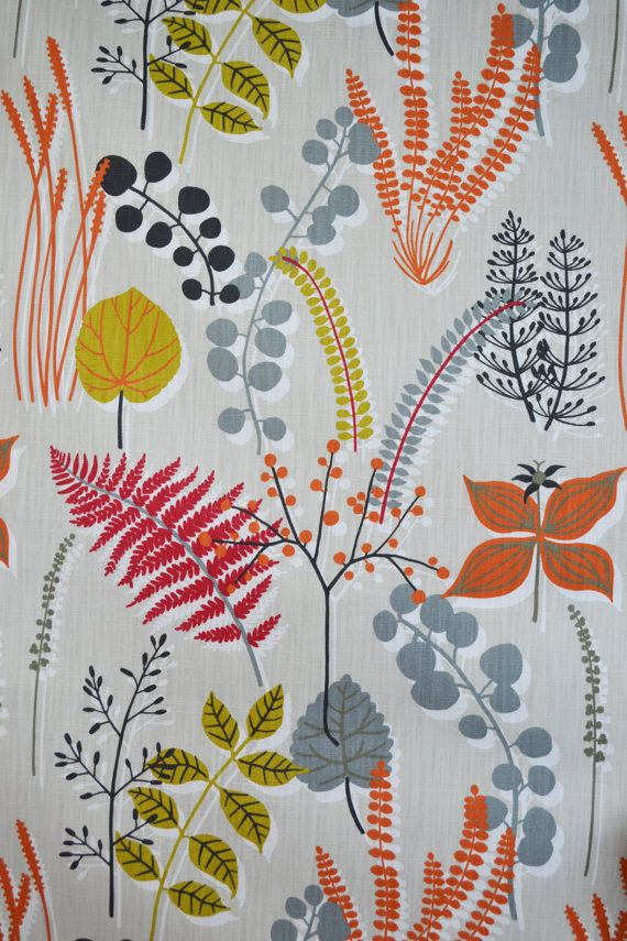 Beautiful fabric from Swedish company Spira Botanik is the new Autumn print of Ferns and foliage in warm colours. Bring the outdoors in but without