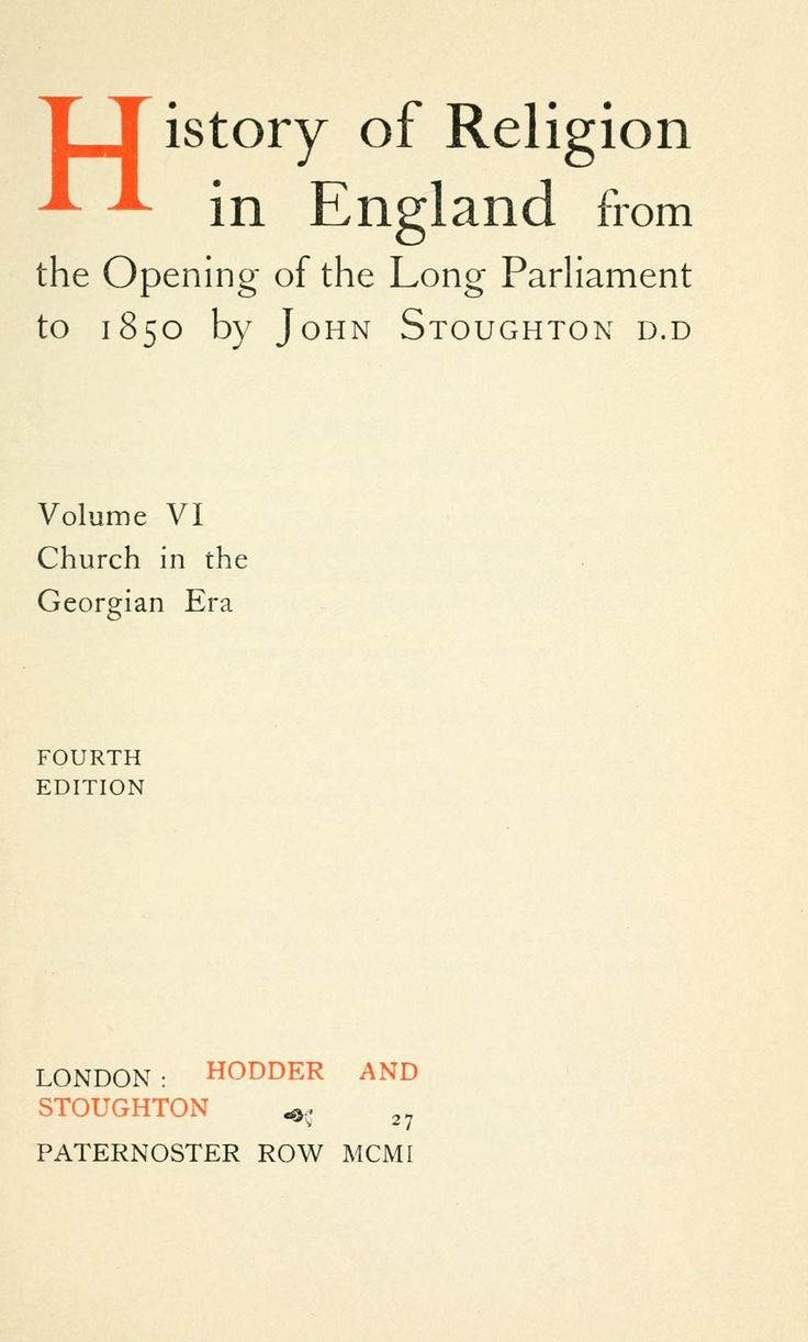 History Of Religion In England From The Opening Of The Long Parliament To  1850 By Stoughton