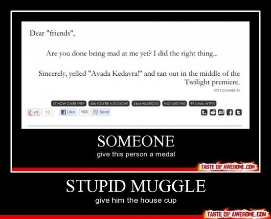 """HARRY POTTER! Lol my """"friend"""" made me go and see twilight with her and i only went so that I could do this. It was awesome!"""