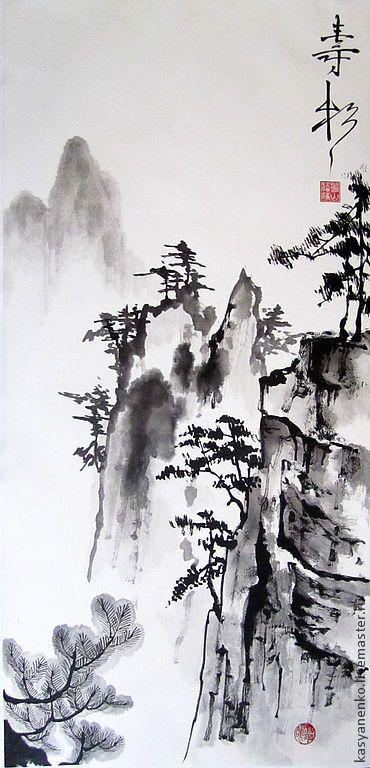 """Купить Китайский пейзаж """"Прогулка в горах Чжанцзяцзе"""" - чёрно-белый, китайская живопись, гохуа"""