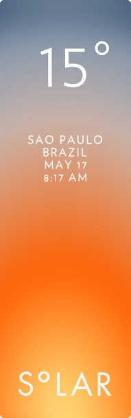 Saõ Paulo weather has never been cooler. Solar for iOS.
