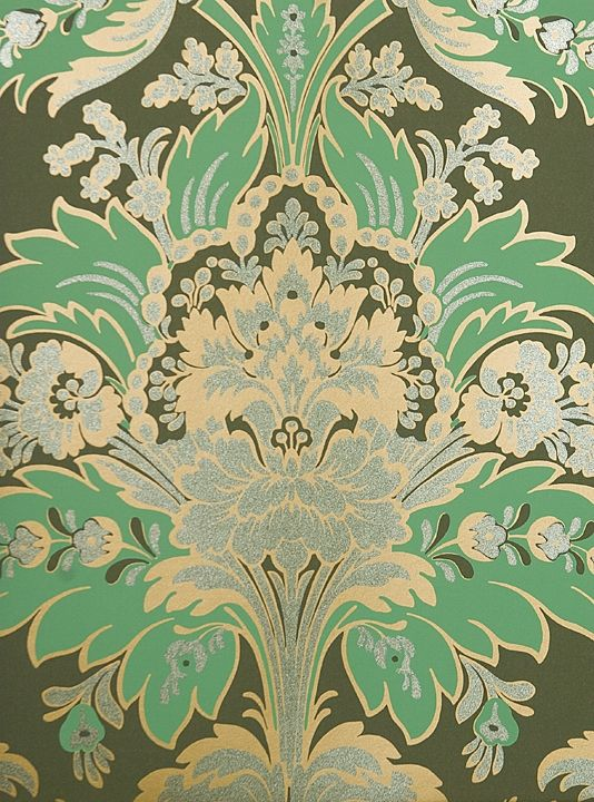 Aldwych Damask Wallpaper Rich Damask Wallpaper in a wonderful deep green coupled with a fresher green and gold. The motif is further embellished with a sage glittered relief providing a sensual element to this classic wallpaper. Cole & Son