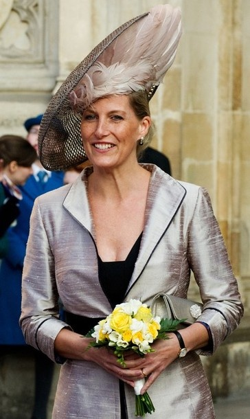 I think she's hiding a bird under there.  HRH Sophie, Countess Wessex on Commonwealth Day in London