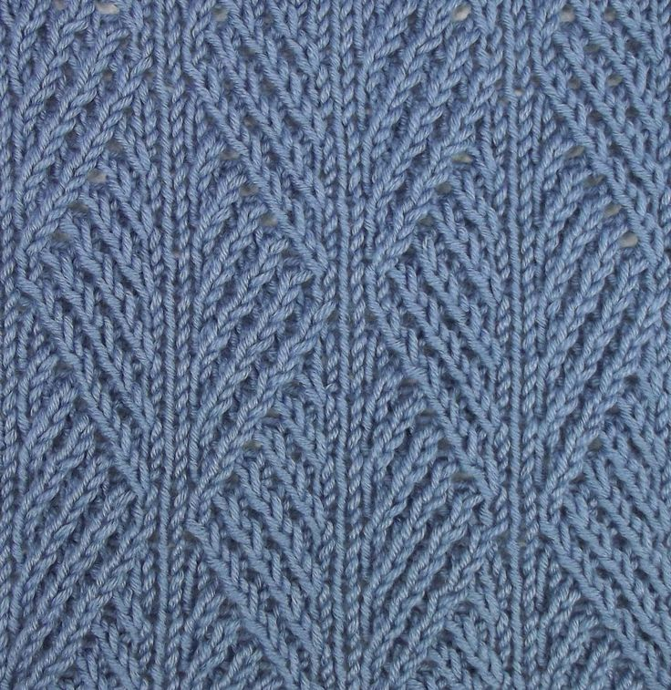 Stitch Patterns For Knitting : Ribbed Leaf stitch is accomplished using twisted stitches for an intricate ap...