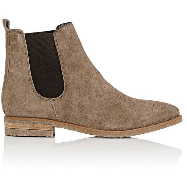 Barneys New York Women's Crepe-Sole Suede Chelsea Boots ($200) ❤ liked on Polyvore featuring shoes, boots, ankle booties, botas, ankle boots, grey, grey booties, gray booties, short heel boots and suede boots