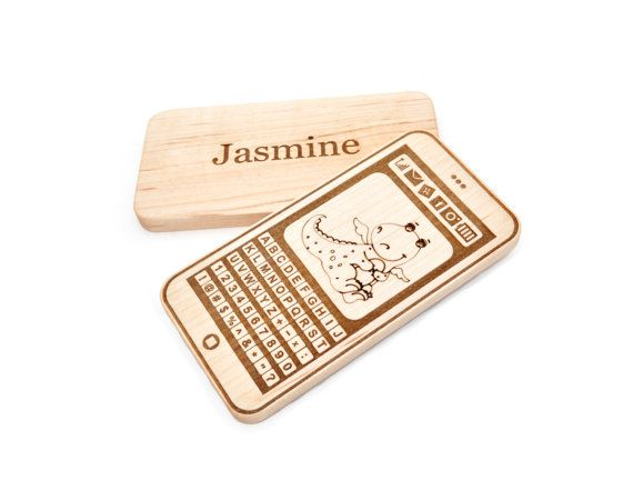Personalized Phone Toy  Wooden Toy  Wood Teething by KeepsakeToys, $15.00