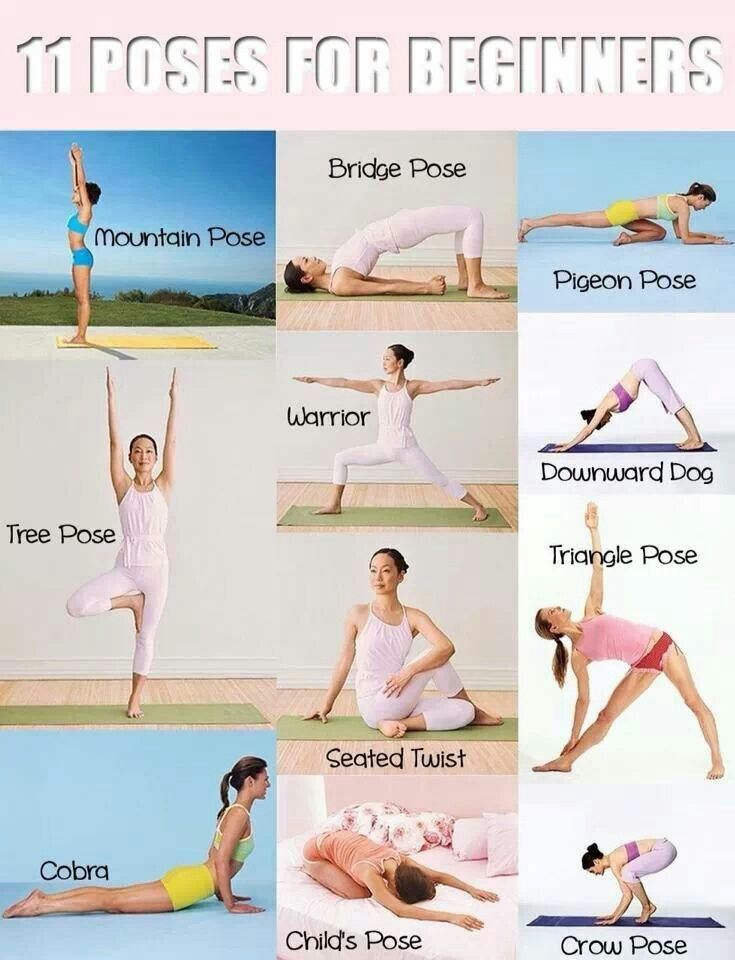 My Favorite Yoga Poses! Order I use: (1) Mountain (2) Tree (3) Warrior (4) Triangle (5) Downward (6) Cobra (7) Pigeon (8) Childs (9) Seated Twist (10) Bridge (11) Crow