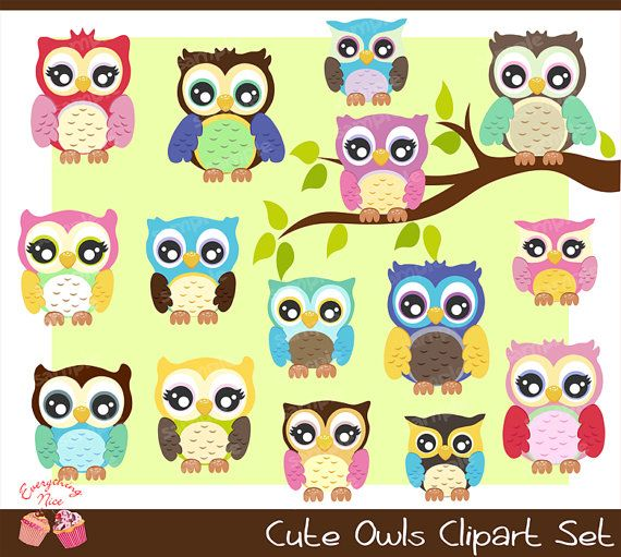 Cute Owls Clipart Set by 1EverythingNice on Etsy