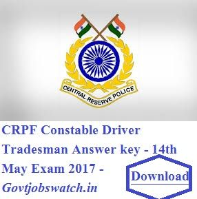 CRPF Constable Driver Tradesman Answer Key/Question Paper Solution 14th May 2017 Exam Download, CRPF Answer key, CRPF 14th may Answer key/Paper Solution