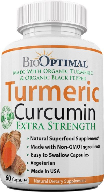 Turmeric capsules made with all certified organic ingredients: 200 mg Organic Turmeric Powder, 200 mg Organic Turmeric Extract, & 100 mg Organic Black Pepper  Made by BioOptimal and available on Amazon.com