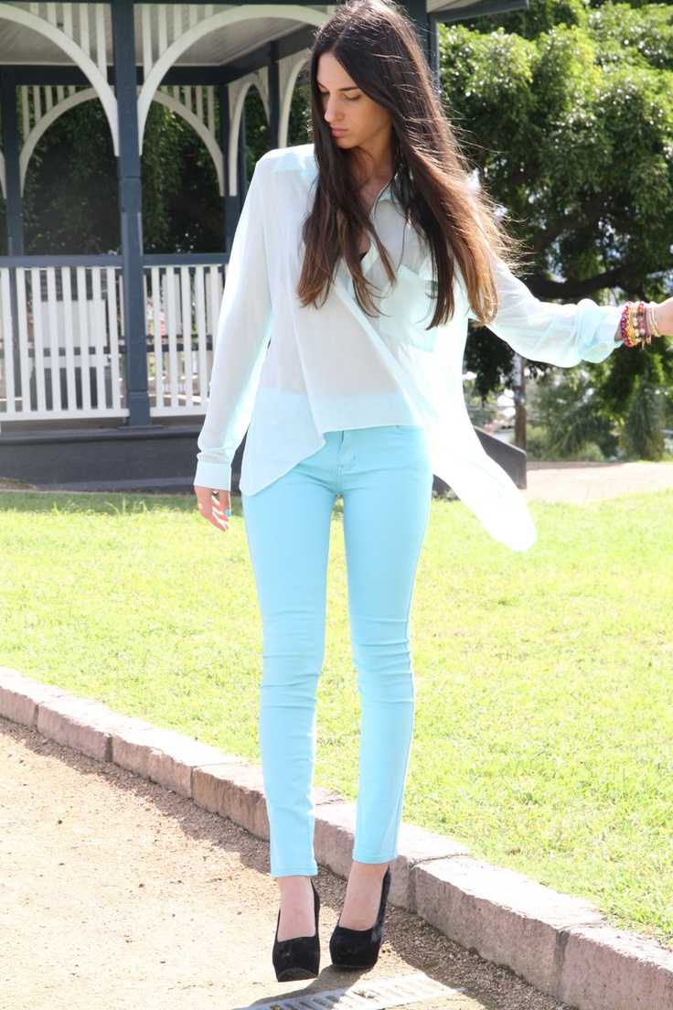 Baby Blue, Colors Pants, Skinny Jeans, Colors Jeans, Summer Style, White Shirts, Blue Jeans, Blue Pants, Mint Jeans
