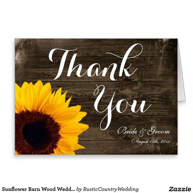 what to write in my bridal shower thank you cards%0A Sunflower Barn Wood Wedding Thank You Cards