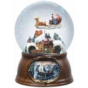 "Roman 6.5"" Musical Rotating Santa Claus with Train Christmas Snow Globe Glitterdome Snow Globes"