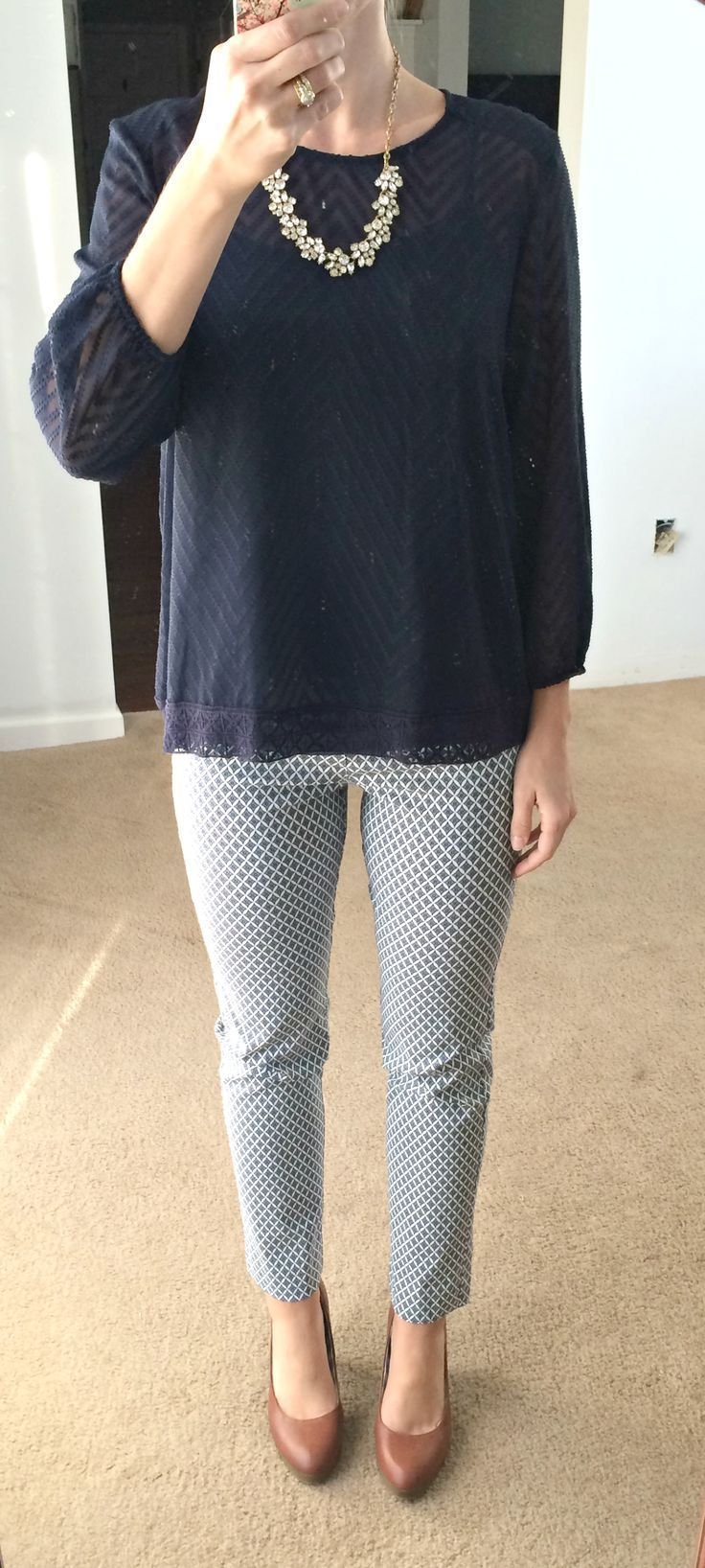 Dear Stitch Fix Stylist, The top is so pretty! I love the pattern and the details in the edging I also love the pants! They remind me of the first pair of pants that I received from my first stitch fix. I regret sending them back.-Contreras
