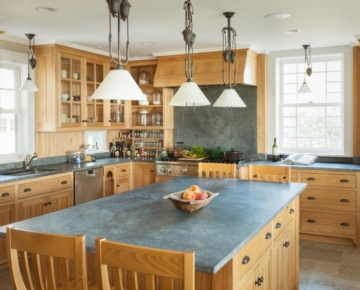 Beach Cottage Kitchen with Natural Cabinetry - spice racks