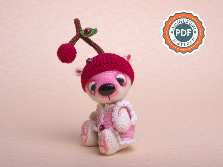 PATTERN - Miniature Crochet Bear Amigurumi Toy bear (Cherry) OOAK bear
