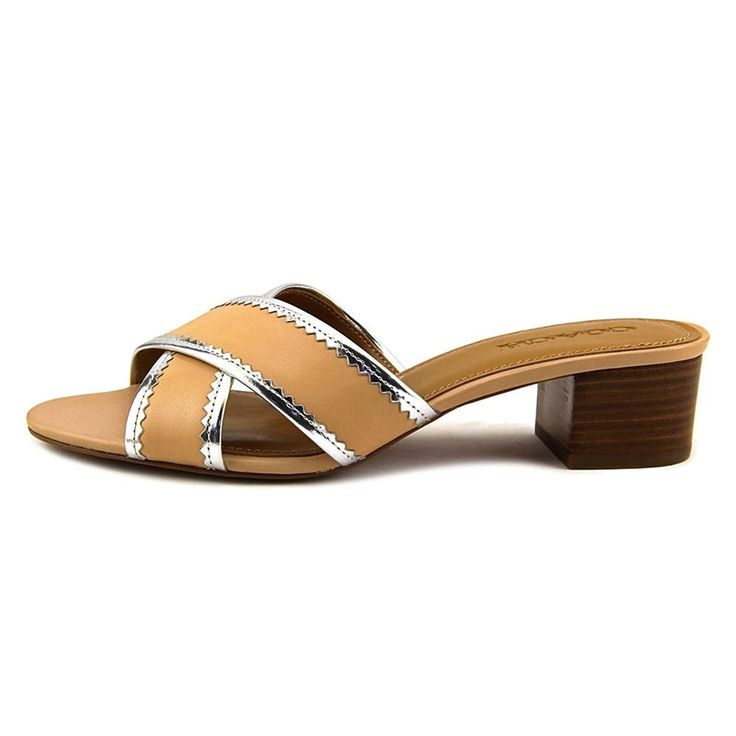 Coach Murielle Women Open Toe Leather Nude Slides Sandal * For more  information, visit image